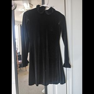 Motel Short Velvet Black Dress Collared Goth